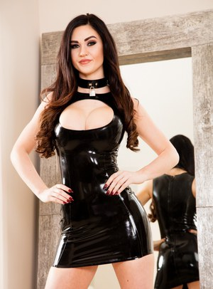 Dark vixen Kendall Karson with her latex clad knockers gets a deep DP