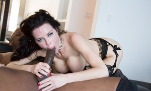 Stunning MILF in lace lingerie & stockings choked in interracial BBC bang