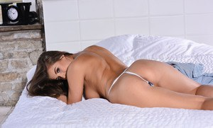Brunette Sarah Mcdonald shows her magnificent body wearing socks and thong