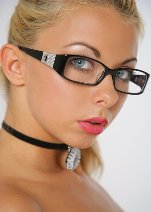 Hot blonde in glasses Lea Tyron commands respect with whip at the ready
