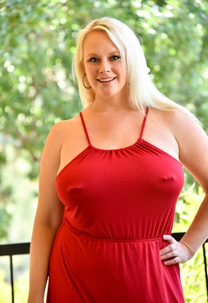Pierced mature fatty in red dress flashes nude upskirt  exposes huge breasts
