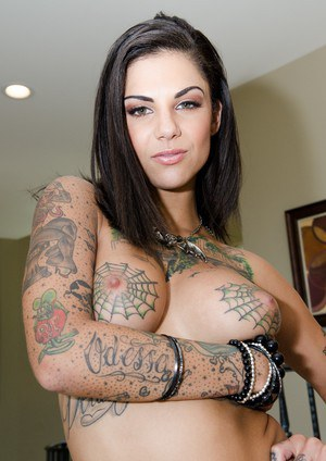 Tattooed slut Bonnie Rotten sucking huge cock  fucking in raunchy FFM 3some