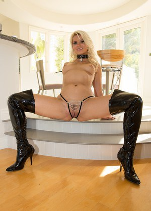 Hot blonde in leather pants 8