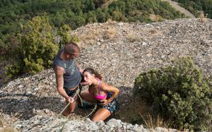 Horny mountain climber Julia Roca gets banged in her hairy muff at the summit