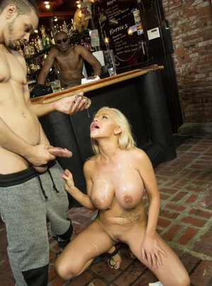 Blonde bombshell spills cum from mouth after getting on knees for black cocks