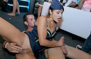 Hot girls get down and dirty during hardcore sex acts inside a swing club