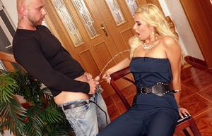 Kinky blonde has a fetish for pissing on hard cock  gets the favor returned
