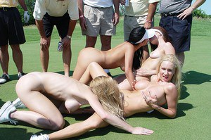 Bisexual girls daisy chain on a golf green before making out on a boat