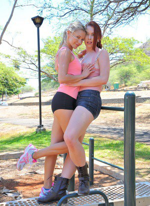 Lesbian girls Melody and Lena expose their tits in public and middle of road