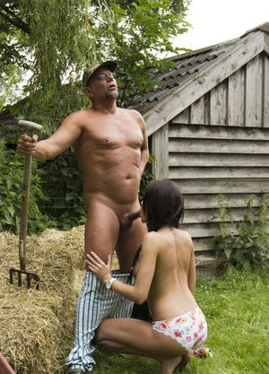 Brunette chick seduces and fucks and old farmer for the thrill