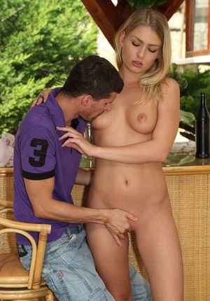 Beautiful blonde with a hot body gets drilled at the beach bar