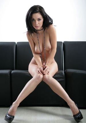 Teen solo model Helen H takes off her black lingerie and high heeled shoes