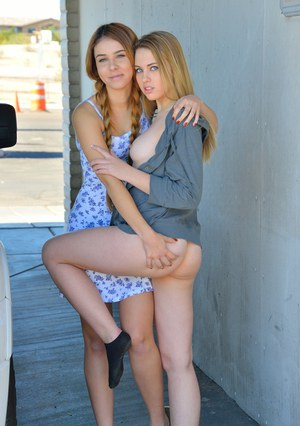 Teen lesbians getting naughty with each other during first Christmas together
