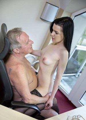 Dark haired secretary seduces her really old boss for a quick job promotion