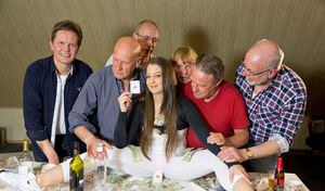 Sexy teen girl Angelina Brill gets gangbanged by old men on poker night