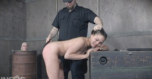 Cute Asian slave bound for butt plugging  painful whipping in BDSM punishment