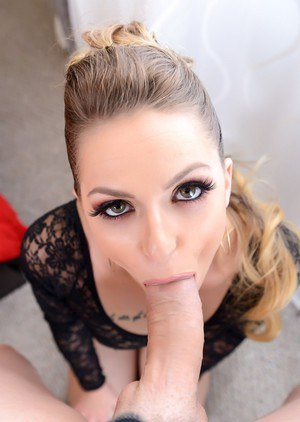 Pornstar Alana Summers blows a big cock in POV mode before getting fucked