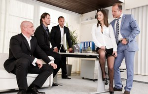 Office slut Gabrielle Lati does a gangbang at work which includes a nasty DP