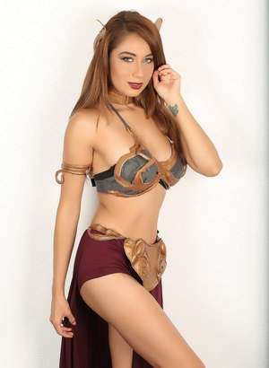 Solo girl shows some bare legs while modeling non nude in Slave Leia costume