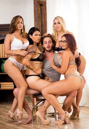 Katie Morgan & Codey Steele join their lingerie clad gfs in crawling over man