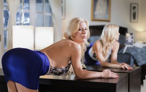 Hot blonde Alexis Fawx uncovers her sweet ass while bent over office desk