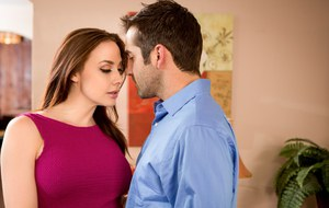 Clothed female Chanel Preston seduces a hard fuck from hubby with a wet kiss
