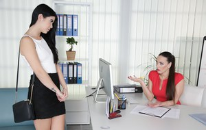 Hot chicks Mea Melone  Lady Dee have lesbian sex during office hours