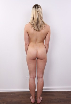 Dirty blonde amateur goes from fully clothed to to standing naked as can be
