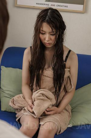 Yui Hatano with hot tits rubs her brown pussy of different things