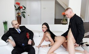 Busty hot wife Raven Bay agrees to fuck her husband's business colleague