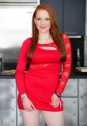 Sexy Redhead Lucy Ohara Upskirt - Flaming hot redhead Lucy OHara lifts her slinky red dress to ...