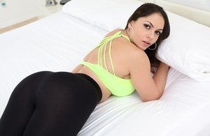 Beautiful busty Marta La Croft drops her spandex to get her round ass creamed