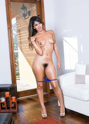 Sexy Latina in hot lingerie gets her pussy licked and belly covered in cum