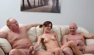 Heather is fucked by two old dudes