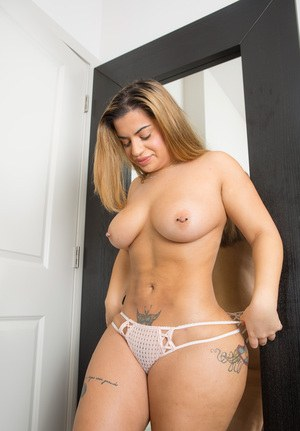 Big Titted Sexy Fatty Lisa Trying On Sheer Lingerie Showing Her Pierced Tits