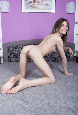 Very skinny Olivia Arden stretches her lanky body  poses with her hairy twat