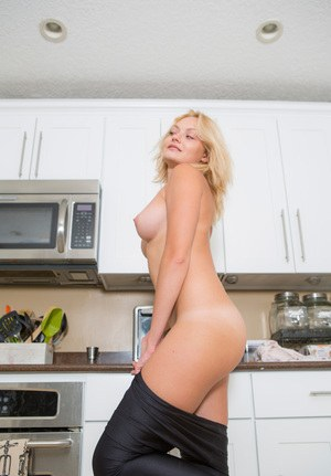 Hot MILF Viktoria Drahos undressing in the kitchen to show perfect tits & ass