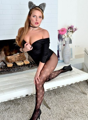 Solo girl Sofi Goldfinger goes topless in bunny ears and sexy pantyhose