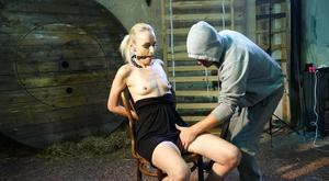 Nasty slave tied on the chair Roxy Lee gets nipple-clamped