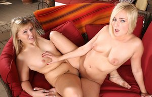 Hot blonde Kate England  friend shed their shorts for hot tribbing session