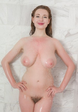 Big titted amateur Misha Lowe showing her big wet nipples in the shower