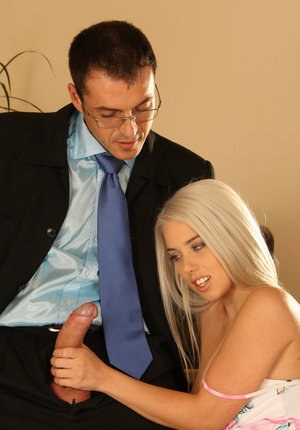 Hot blonde chick Nesty A gets banged while on a job interview