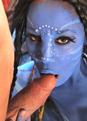 Cosplay beauty Misty Stone takes cock in nothing but blue body paint
