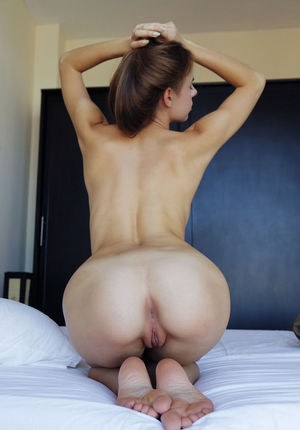Tiny brunette Gracie A showing her amazing pussy and ass from many angles