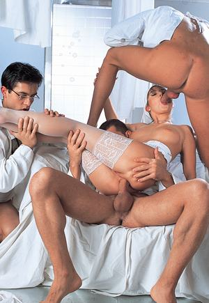 Nurse Nikki Montana fucks doctors and patient in hot vintage foursome