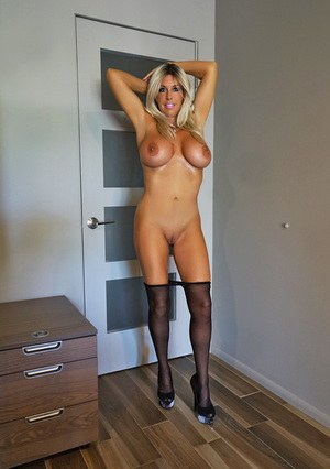 Incredibly busty Wifey toys in pantyhose while her husband takes photos