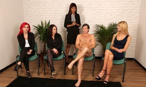 Hot MILF women humiliate a naked man & jerk his cock in CFNM group handjob