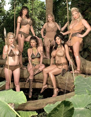 Tribal leader Alexis Silver leads her band of busty lesbians in groupsex games