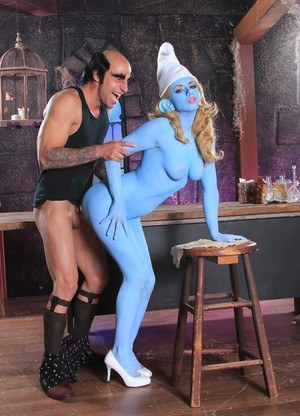 Blue cosplay smurf girl gets a deep pussy pounding from evil Gargamel