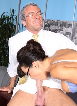 Hot MILF job hunter Lisa Ann sucking boss cock in office 3some to get the job